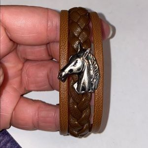 Brown Leather Horse Bracelet